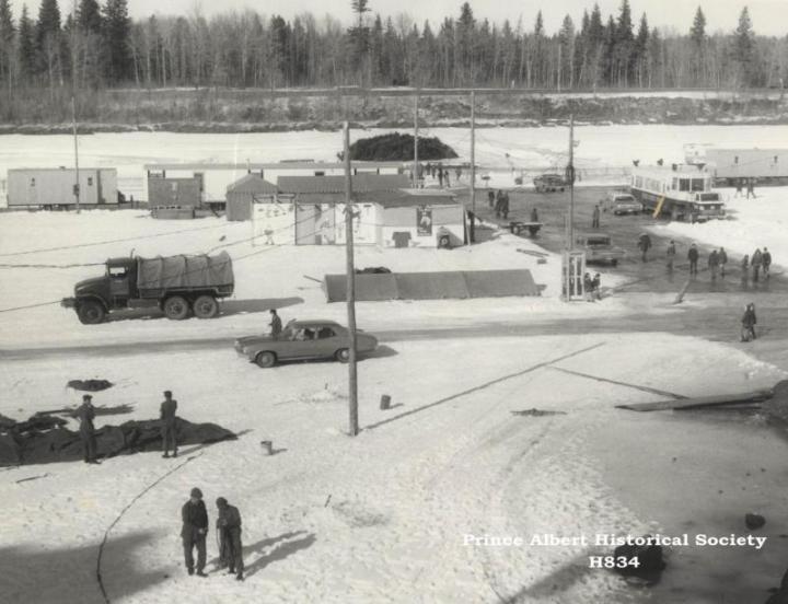 Winter Fest setting up on river_c 1973