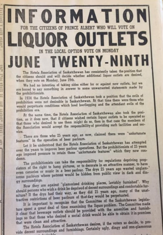 Liquor vote ad June 29 1959