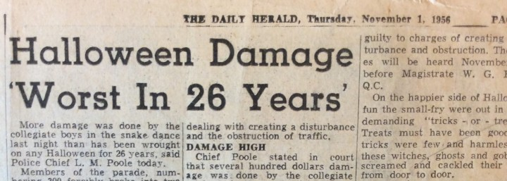 Snake dance damage_Nov 1 1956_Headline