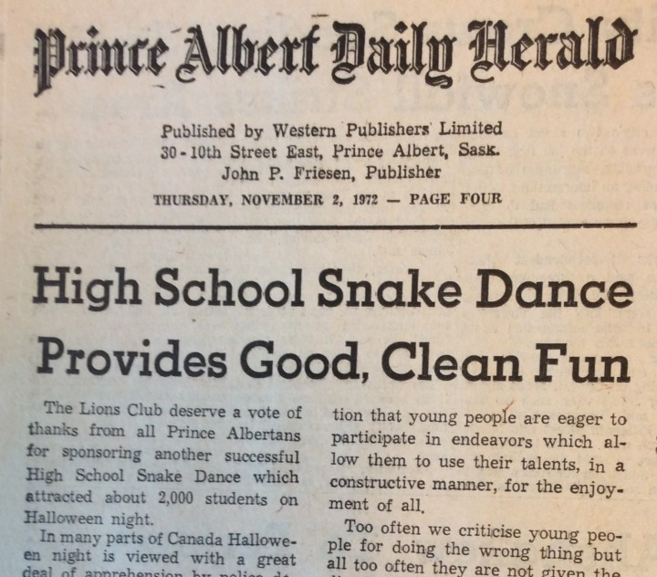 Snake dance_Nov 2 1972_Headline